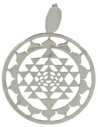 Lotus Shree Yantra Pendant handmade in sterling silver